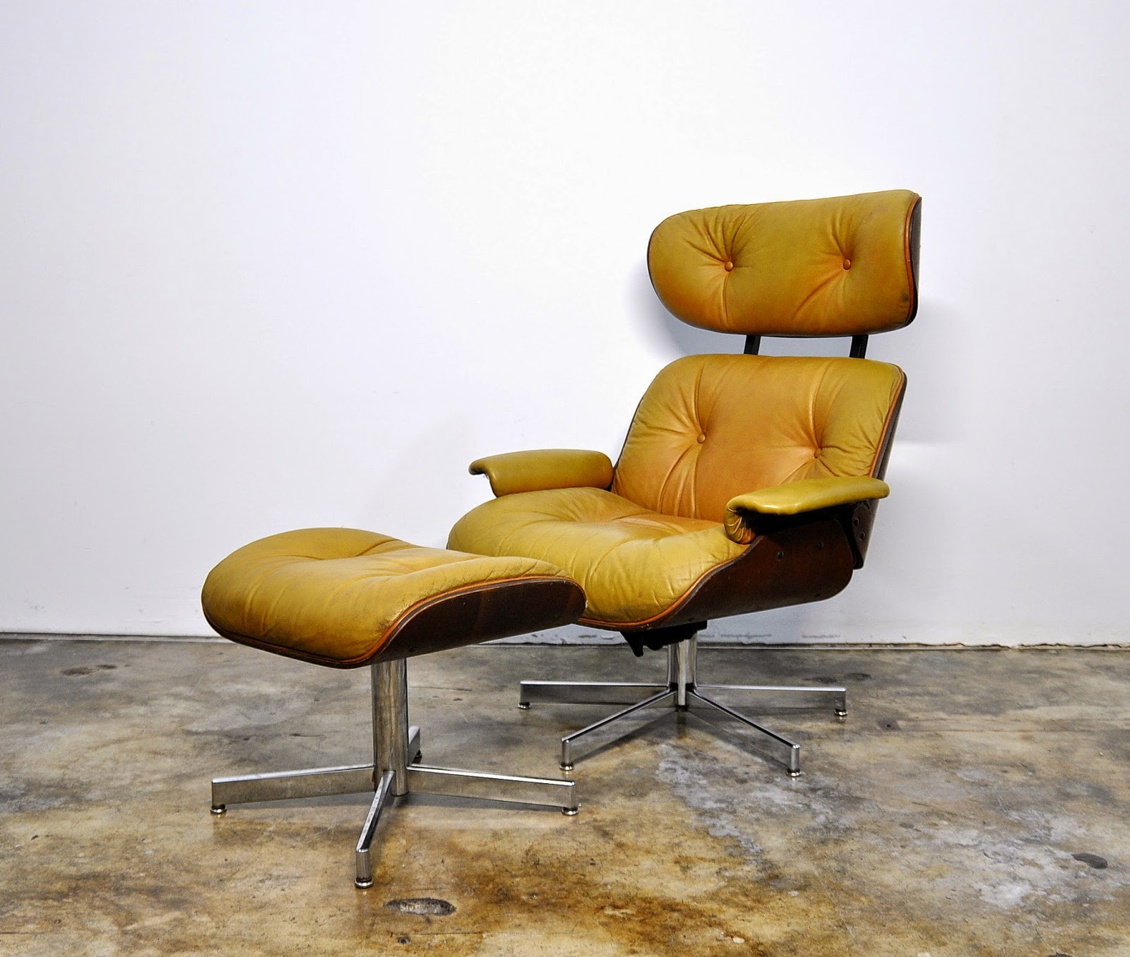 selig eames chair where to rent covers and sashes select modern: leather lounge & ottoman