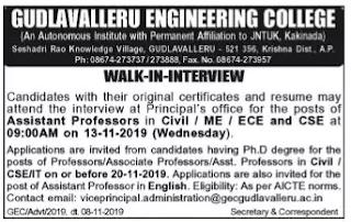 Gudlavalleru Engineering College Assistant Professor, Associate Professor Jobs walk in interview.png