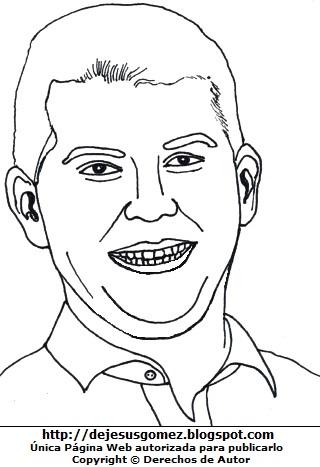 Ilustración de Julio Guzmán con gran sonrisa para colorear o pintar. Dibujo de Julio Guzmán de Jesus Gómez