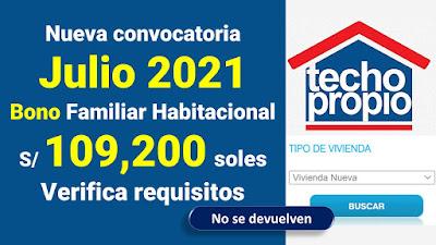 Nueva convocatoria para la entrega de 283 bonos habitacionales de 109,200 soles