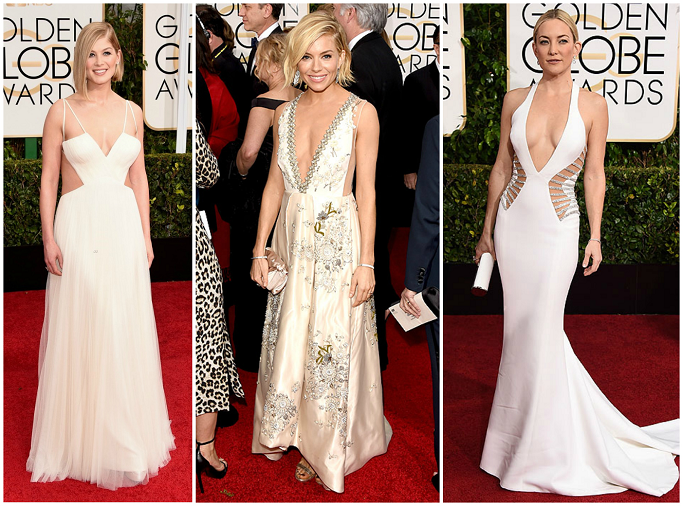 Rosamund Pike in Vera Wang collection gown at Golden Globes Red Carpet Sienna Miller in Miu Miu at Golden Globes Red Carpet Kate Hudson in Versace at Golden Globes Red Carpet