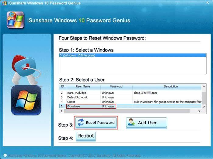 Reset Windows 10 Login Password on Asus