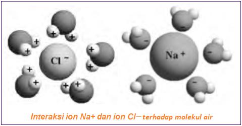 Interaksi ion Na+ dan ion Cl– terhadap molekul air - Kisi Kristal
