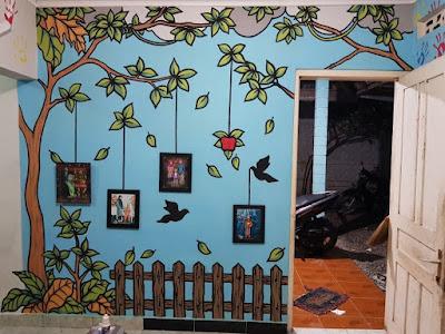 contoh gambar mural pohon dan burung