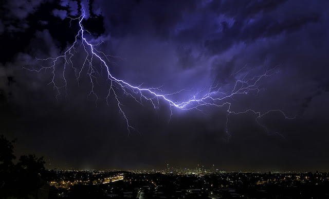 Lightning over Brisbane City Australia 2015