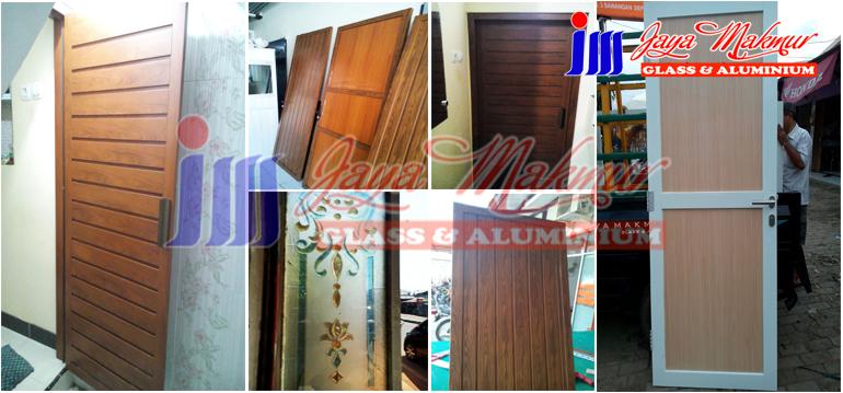 Pintu aluminium urat kayu
