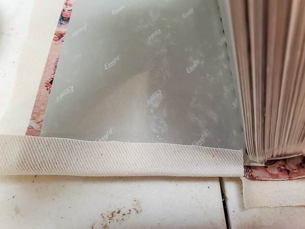 fold fabric edges in place