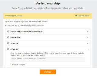 verifikasi ownership ahrefs webmaster tools