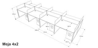 Meja Partisi Kantor 8 Orang Dengan 2 Laci - 4X2 Cubicle workstation
