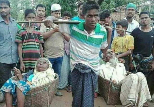 El hombre huyó de Birmania a Bangladesh