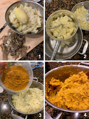 Peel cooked potatoes, pass through food mill, add in recado and mix