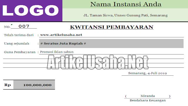 Download Contoh Kwitansi Pembayaran Excel