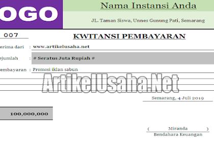 Download Kwitansi Kosong Bukti Pembayaran Format Excel 2007