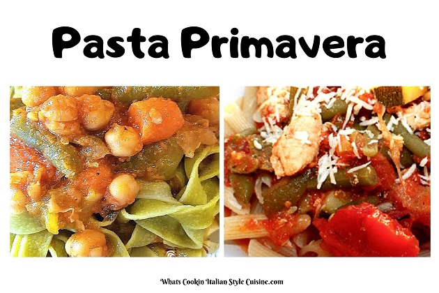 this is two photo of different pastas used to make pasta primavera
