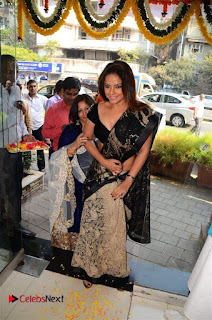 Actress Neetu Chandra Stills in Black Saree at Designer Sandhya Singh's Store Launch  0068.jpg
