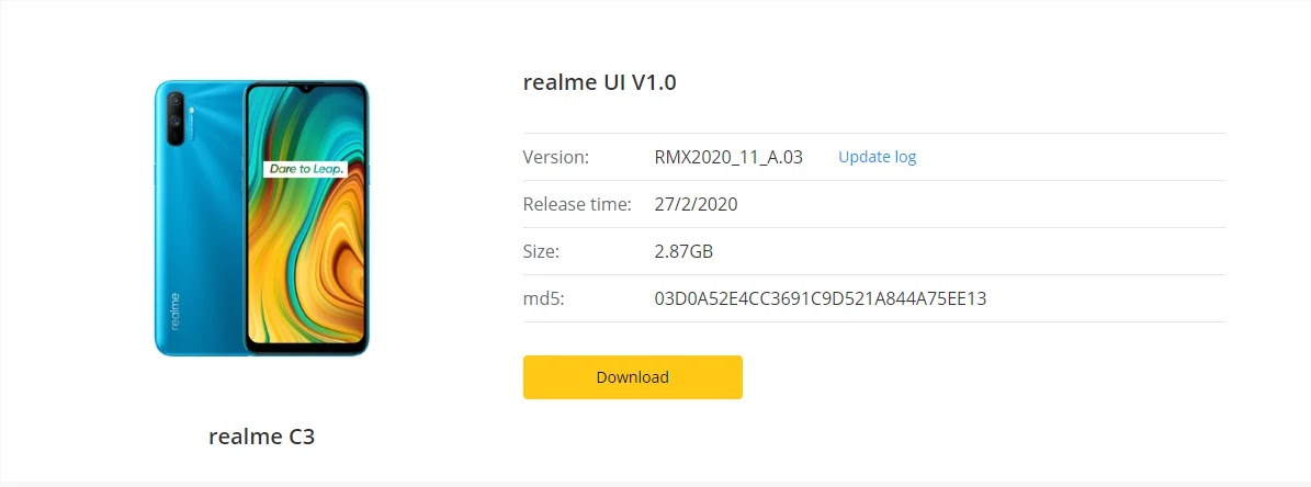 Realme C3 February Security Patch Update Started Rolling Out [RMX2020_11_A.03] - Realme Updates