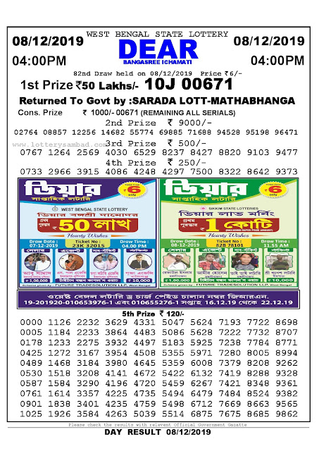 Sambad Lottery 08-12-2019 West Bengal State Lottery Result 04.00 PM-lotterysambadresults.com