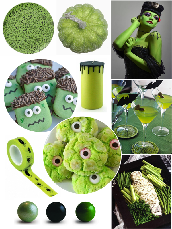 Green and Black Halloween Party Ideas - via BirdsParty.com