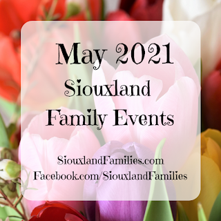"""in background, brightly colored tulips. in foreground the words """"May 2021 siouxland family events"""""""
