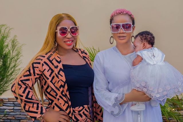 Lovely moment as Anita Joseph joins Uche Ogbodo in church as she Christened her New -born baby (Photos)