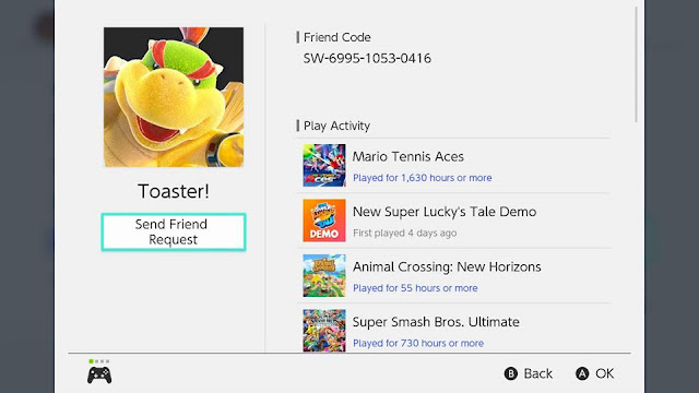 Toaster! Nintendo Switch friend code Bowser Jr. Mario Tennis Aces professional