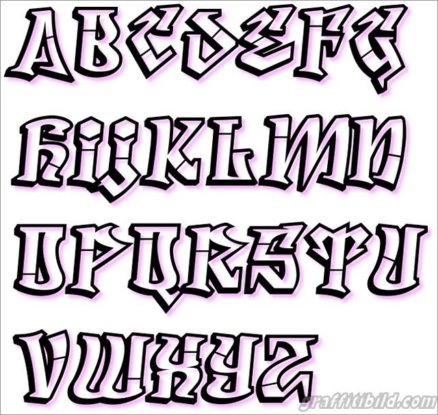 Graffiti alphabet a-z, graffiti schrift abc
