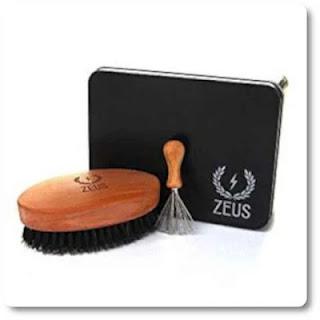 2 Zeus Palm Military Style 100% Soft Boar Bristle Beard Brush Set