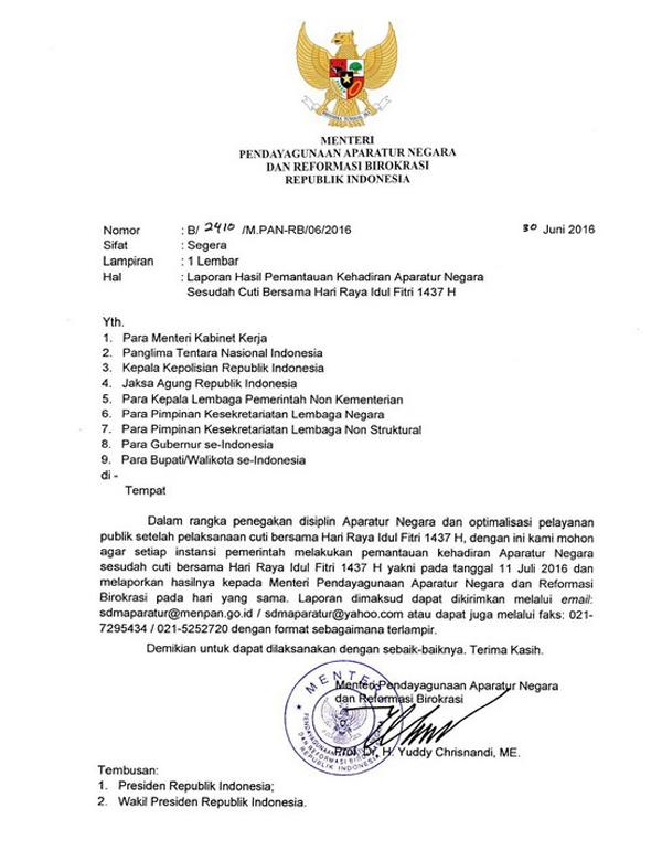surat edaran menteri panrb tentang laporan hasil kehadiran