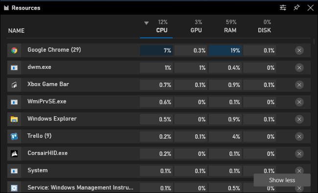 الواجهة الكاملة لإدارة مهام الموارد في شريط ألعاب Windows 10