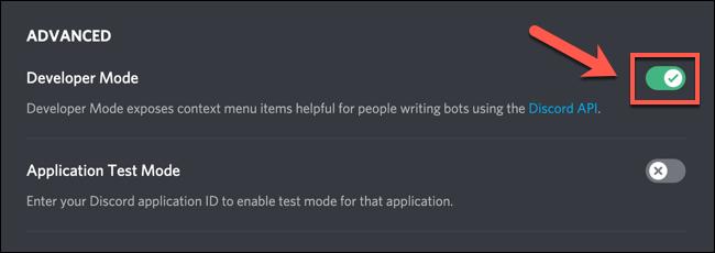 """لتمكين وضع مطور Discord أو تعطيله ، انقر على شريط التمرير """"وضع المطور""""."""