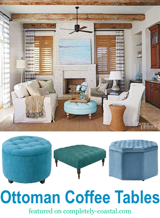 Blue Ottoman Coffee Table Ideas Coastal Living Room