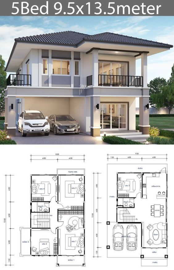 Koleksi Desain Denah Rumah 2 Lantai Lengkap Dengan Tampak