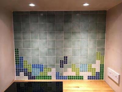 Carrrelage faïence de cuisine pour geek Tetris