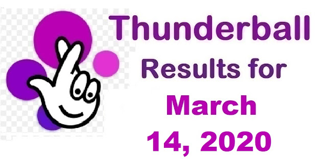 Thunderball Results for Saturday, March 14, 2020