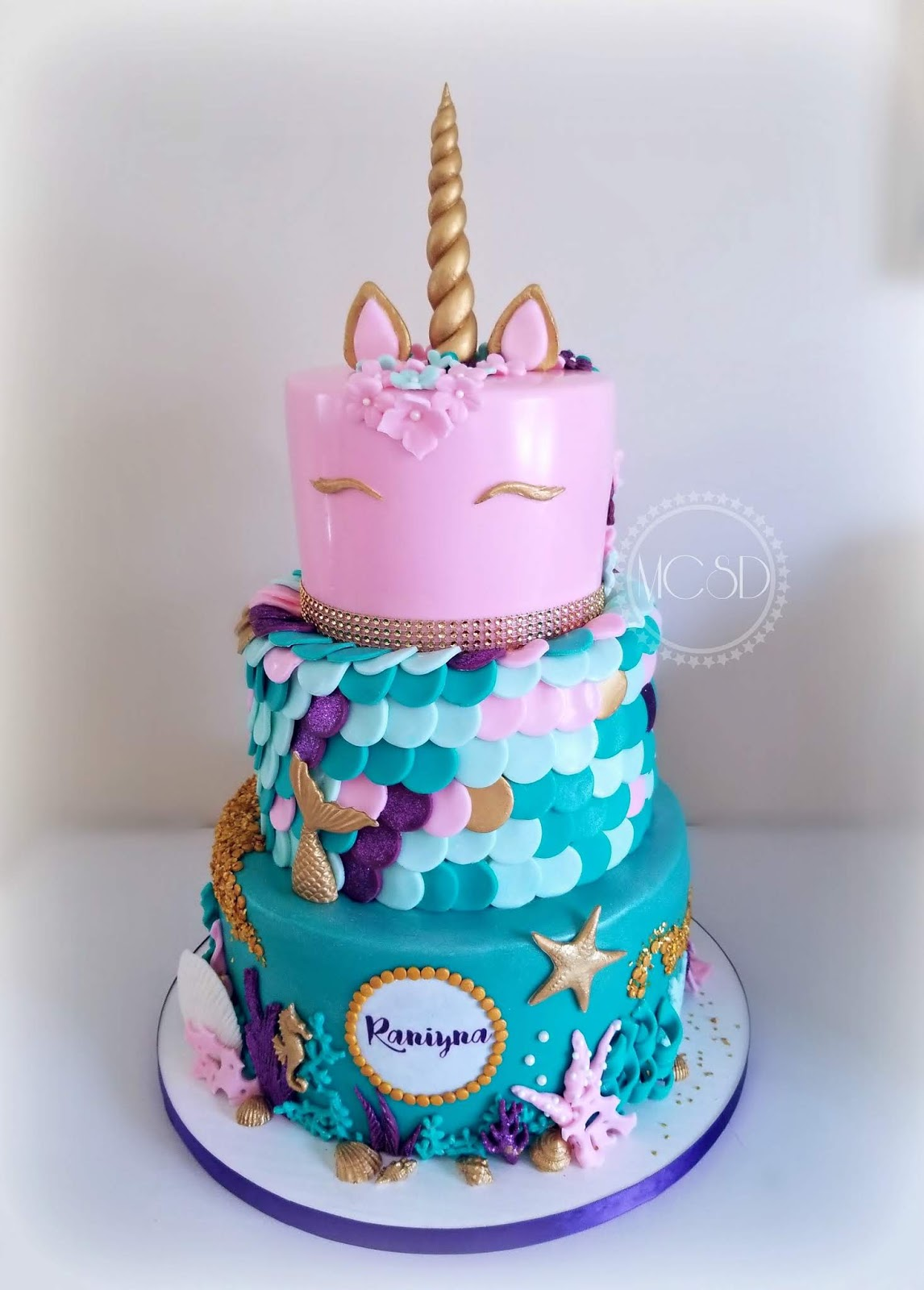 Mycakesweetdreams Unicorn Mermaid 1st Birthday Cake