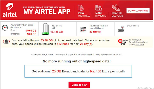 How to Check Airtel Broadband Internet Data Usage with Airtel Smartbytes?: eAskme