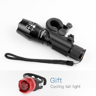Lumin Tekco Bike Light Set with CREE XML-T6 10W Bead Front Light, Back Light Included, 1,000 lumen Super Bright Waterproof LED Headlight and Taillight, Quick-Release