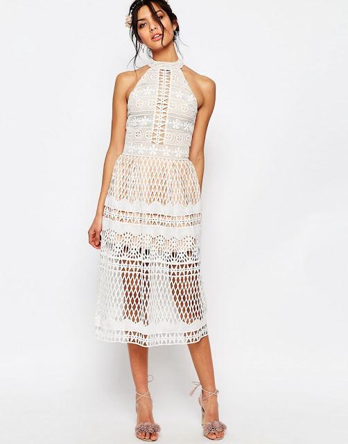 jarlo selma dress, jars white midi dress, white lace cut out midi dress,