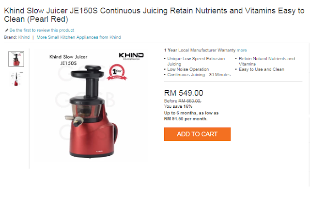 Khind Slow Juicer JE150S Continuous Jucing Retain Nutrients and Vitamins Easy  to Clean