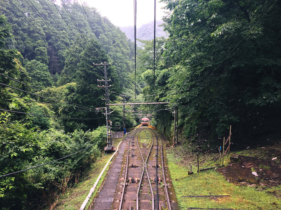 View of the route of the cable car to Koyasan