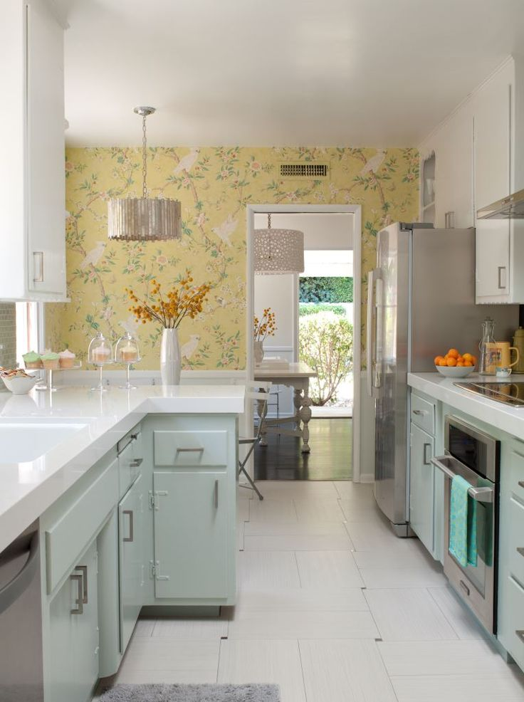 Mint + yellow kitchen