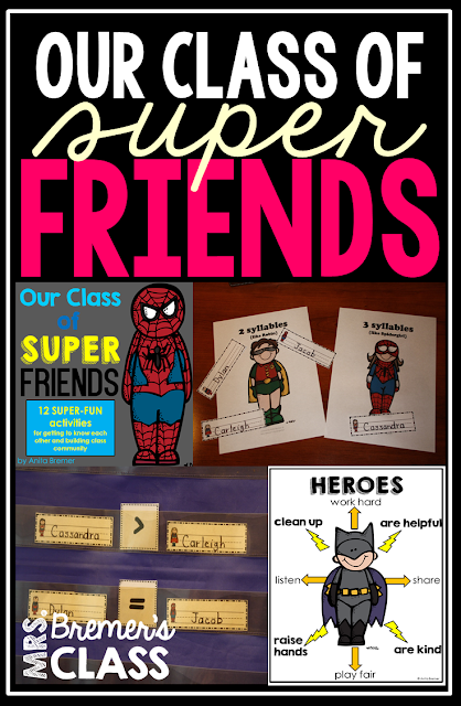 Superhero themed back to school activities to promote class community!