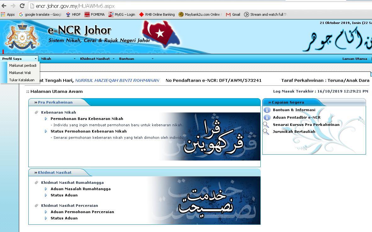 Info Panduan Permohonan Nikah E Ncr Johor Secara Online