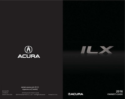 2016 Acura ILX Owner's Guides and Manuals