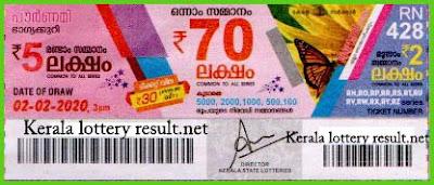 Kerala Lottery Result 02-02-2020 Pournami RN-428 (keralalotterresult.net)