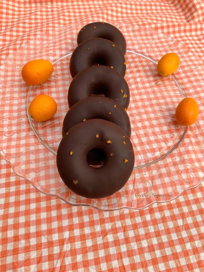 Donuts de kumquats y chocolate sin gluten
