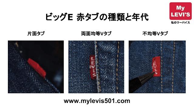 ヴィンテージリーバイス ビッグE 赤タブの種類 :片面・両面・不均等V