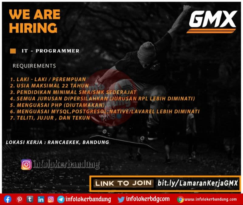 Lowongan Kerja IT Programmer GMX Bandung Mei 2021