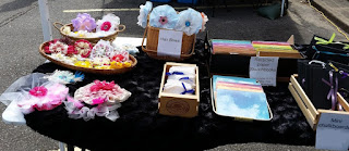 hair bows, makeup clothes, notebooks, chalk boards