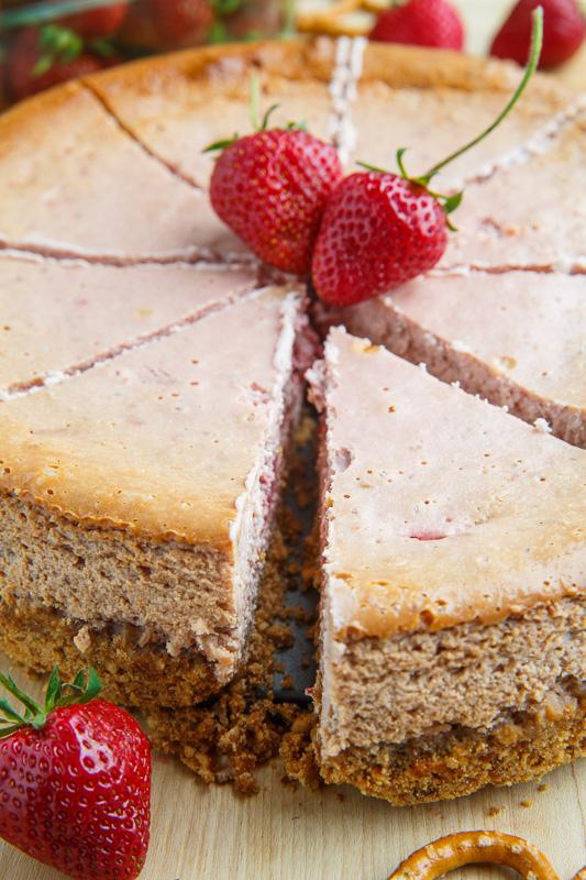 Strawberries and Cream Cheesecake with Pretzel Crust